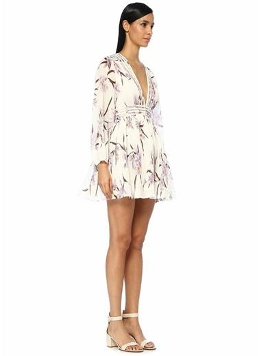 Zimmermann V Yaka Çiçekli Pileli Mini Elbise Lila